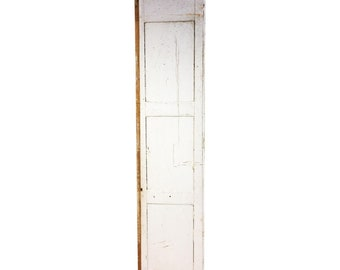 Vintage WOOD PANEL wooden cabinet door shutter architectural salvage farm house table top barn repurposing white brown chippy paint shabby
