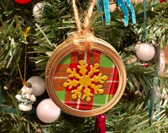 Mason Jar Lid Christmas Ornaments