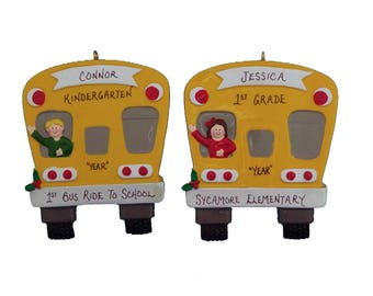 Personalized Bus Ride School Ornament-1st Bus Ride Personalized Ornament - Starting School Personalized Christmas Ornament - Starting School