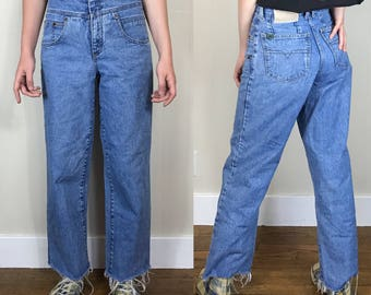 "Vintage 90s High Waisted Straight Leg frayed hem jeans ~ size 27"""