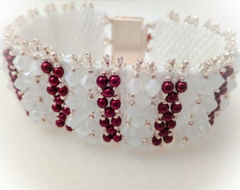 Bracelet with crystals and pearls Marsala