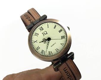 Women's Retro Freedom Watch, Brown Leather Strap, Birthday Gift