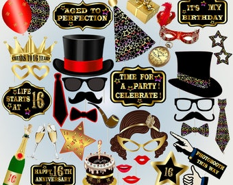 Printable sweet 16 photo booth props 16th birthday photobooth props party photobooth props lips black and gold props  birthday party hats