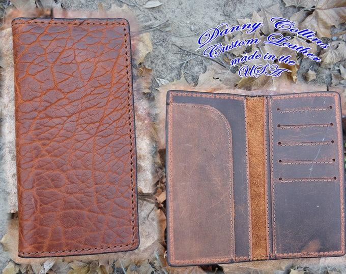 Shrunken Bison Checkbook Wallet, Bison Roper wallet, Bison Long Wallet, Leather Wallet, Mens Wallet