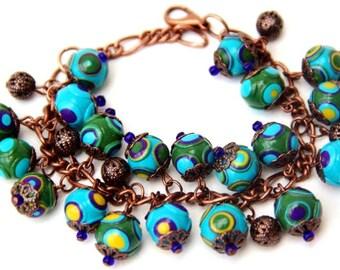 Polymer Clay jewelry Boho Bracelets for Women Green Bead bracelet Gift for Women Statement bracelet Bohemian jewelry Fimo beads bracelet