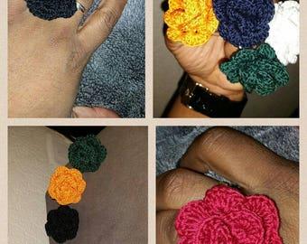 handmade crochet flower pattern ring