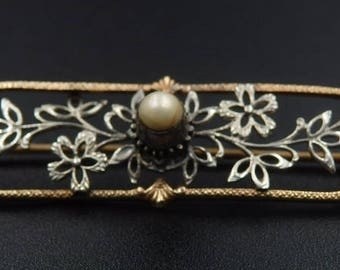 Antique, art deco white and rose gold pearl brooch 10k