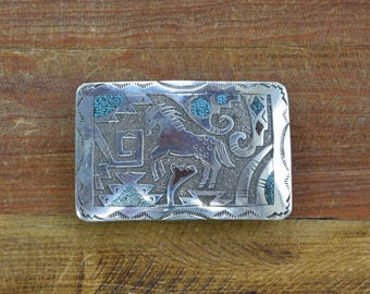 Vintage Navajo Turquoise and Coral Chip Inlay Horse Sterling Silver Belt Buckle