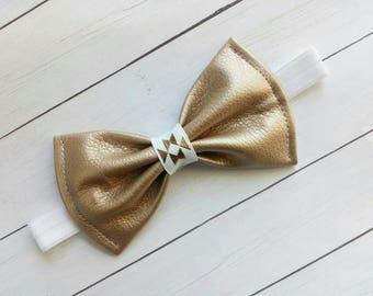 Gold Faux Leather Hair Bow or Headband | Gold Bows | Gold Hair Bows | Gold Headbands | Gold Headband | Hairbows | Hairbow | Hair Clip |