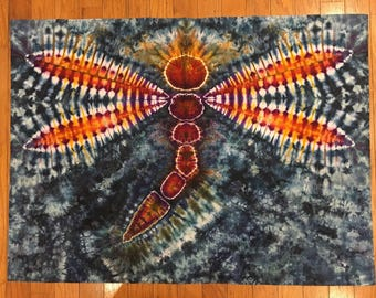 Tie Dye Dragonfly Tapestry Ice Dyed