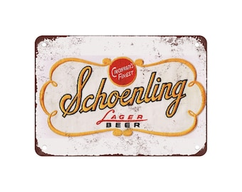 """Schoenling Lager Beer - Vintage Look Reproduction 9"""" X 12"""" Metal Sign"""