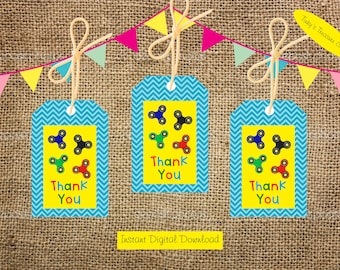 Digital Download Fidget Spinner Thank You Tag for Party Favour Bags. Birthday Party Decoration. Digital. Lollie Bags. Spinners. Goodie Bags.