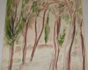 1963 Abstract Expressionist Watercolor Trees Painting by Israel Artist Hanna Avishai Jewish Art Israeli Landscape Mid-Century Modern