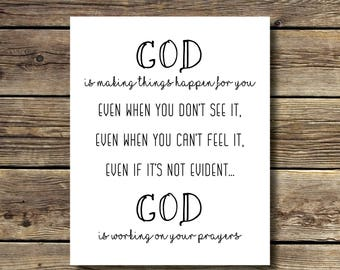 8x10 print - God is Making Things Happen for You - Black and white - INSTANT DIGITAL DOWNLOAD