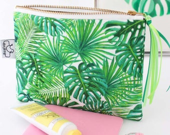 Tropical printed zipper pouch/Tropical Iphone 7 plus wristlet/Original ANJESY designs/Gift for her.