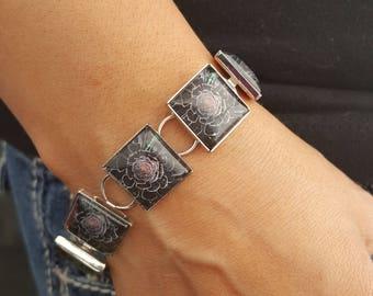Black Succulent Square Bracelet in Silver Setting Photo Jewelry Photo Bracelet Black Rose Nature Jewelry Flower Jewelry Flower Bracelet