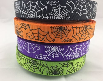 """Spider web Grosgrain Ribbons, Halloween ribbons, spider web ribbons. Available in 7/8"""""""