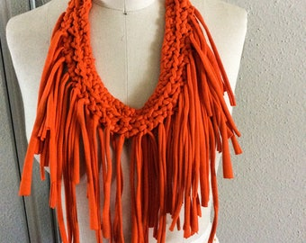 Sacral chakra fabric necklace