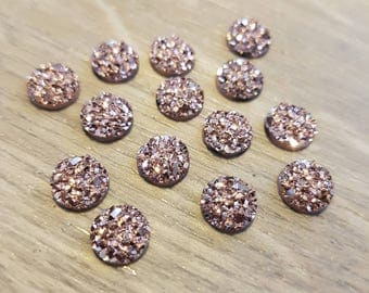 8mm Iridescent Faux Druzy Cabochons Resin Kawaii Cabochon Glitter Embellishments Jewelry Supplies Earring Components Ring Findings Rose Gold