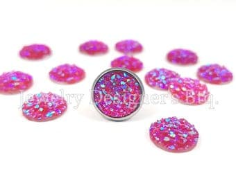 10mm Druzy Cabochon Iridescent Resin Faux Druzy Drusy Cabochons Kawaii Cabs Fits 10mm Flat Round Bezel Pink