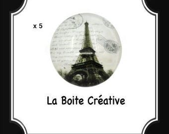 5 round 16 mm EIFFEL Tower glass CABOCHONS