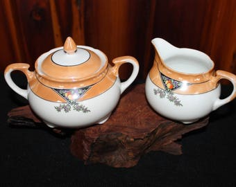 Vintage Japanese Hand Painted Porcelain Creamer with Sugar Bowl and Cover