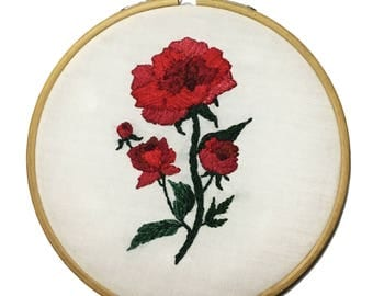 Red Peony Flower Hand Embroidey