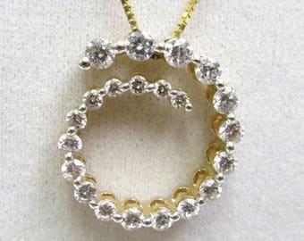 si 1 diamond slide pendant enhancer 1 carat plus yellow gold 14k