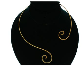 Unique Fancy Gold or Silver Plated Double S Loop Swirl Choker Collar Necklace (CS6)