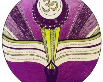 chakra art print with affirmations & crystals - crown chakra || yoga studio art || chakra gifts || chakra print || chakra artwork