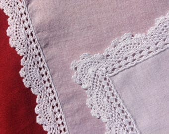 Old dryer in Cambric cotton with a lace crochet - Ancient muchoir in linen Cambric handmade