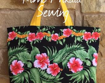Hawaiian Hibiscus Flower Lei Tote Bag, Beach Bag, Travel Tote