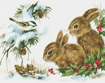 Bunny Rabbits in Snow Counted Cross Stitch Pattern / Chart,  Instant Digital Download (AP004)