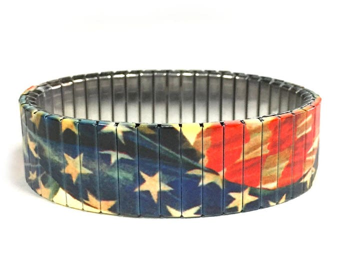 Aged USA flag bracelet, United States,Stretch Bracelet, Repurpose watch band, Sublimation, Stainless Steel, Wrist Band, gift for friends