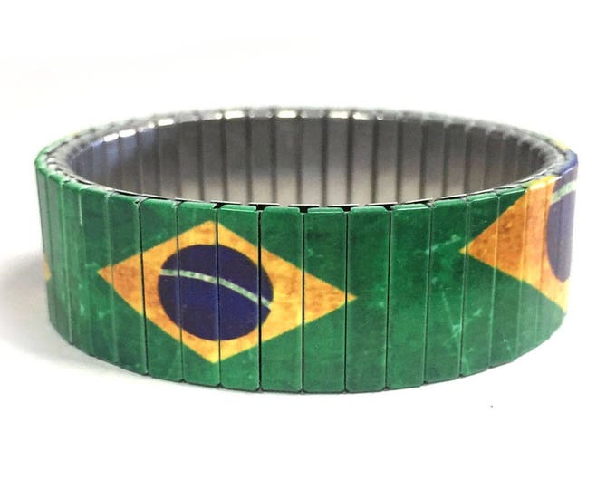 Brazil flag bracelet-Brazil, Sublimation, Stainless Steel, gift for friend, gift for him, soccer, Brazil, Futbol
