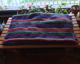 """80s Striped Tablecloth/5'6""""x4'1"""""""