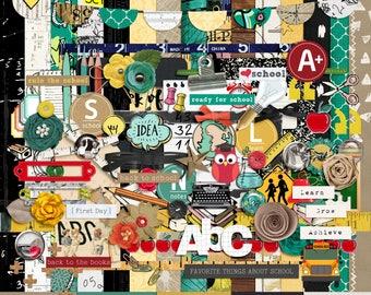 Back To School - Digital Scrapbooking Full Kit