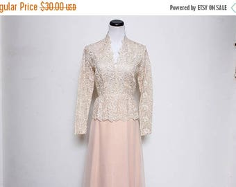 25% OFF VTG 70s Cream Lace Peach Mother of the Bride Sheer Dress S