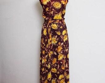 25% OFF VTG 70s Floral Sheer Hippie Maroon Yellow Maxi Hippie Boho Dress M