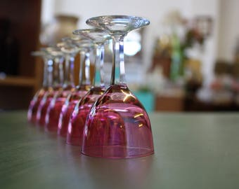 Set of 6 Cranberry Cordial Glasses