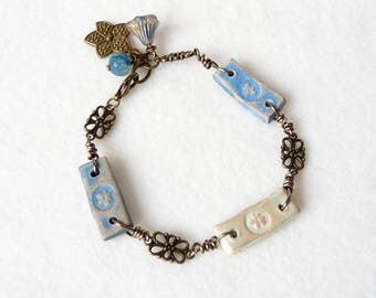 Rustic Boho Bracelet, Bohemian Bracelet, Link Bracelet, Flower Bracelet, Floral Ceramic Beads, Handmade Jewerly, Womens Beaded Bracelet