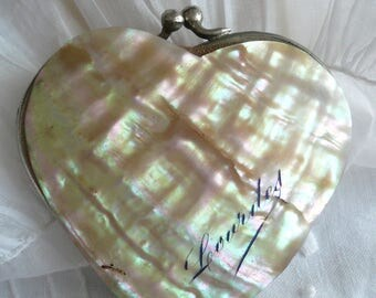 Antique French Mother of Pearl Purse, French Lourdes Souvenir, French Miniature Purse, Heart Mother of Pearl Purse. Mother of Pearl Purse.