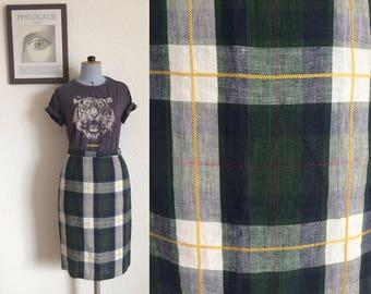 Vintage Gerard Darel Linen Tartan Pencil Skirt / Made in France/ Size FR40