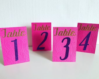 Pink & Purple Table Numbers