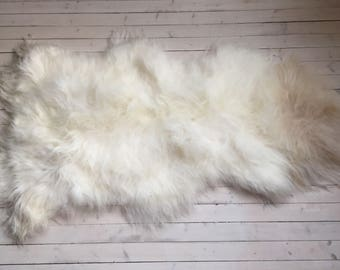 White brown long haired large sheepskin rug spael sheep skin throw 17234