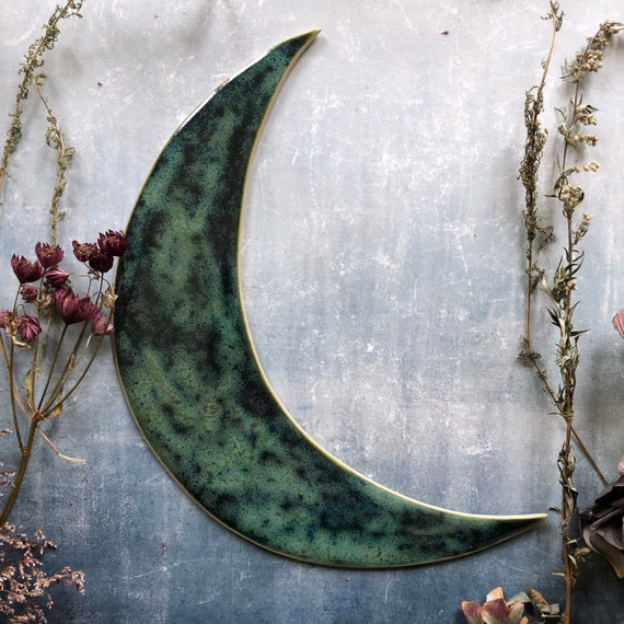 Dark green stoneware moon