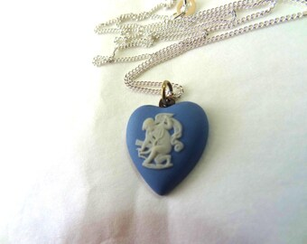 Wedgwood Necklace Blue Jasper Heart Shaped Cameo Pendant. Cupid God of Love Cameo. Sterling Silver Chain.