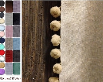 Pom Pom Curtains: Pair of 100% Linen Curtains in your choice of colors