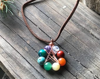 Chakra pentacle necklace, Wiccan jewelry, Pagan jewelry, Star necklace, Chakra crystals