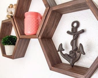 Individual Hexagon Shelf, Honeycomb Shelf, Geometric Shelf, Choice of Stains (Dark Walnut shown), Nursery Decor, Gift for Her, Home Decor